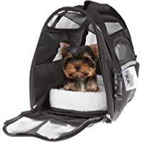 "PETMAKER Airline Compliant Pet Carrier- 15""x 8""x 10"" Travel Bag for Pets with Large View Window, Removable Resting Pad and Detachable Strap by (Black)"