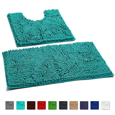 LuxUrux Bathroom Rugs Luxury Chenille 2-Piece Bath Mat Set, Soft Plush Anti-Slip Shower Rug +Toilet Mat.1'' Microfiber Shaggy Carpet, Super Absorbent Machine Washable Bath Mats (Curved Set, Turquoise)