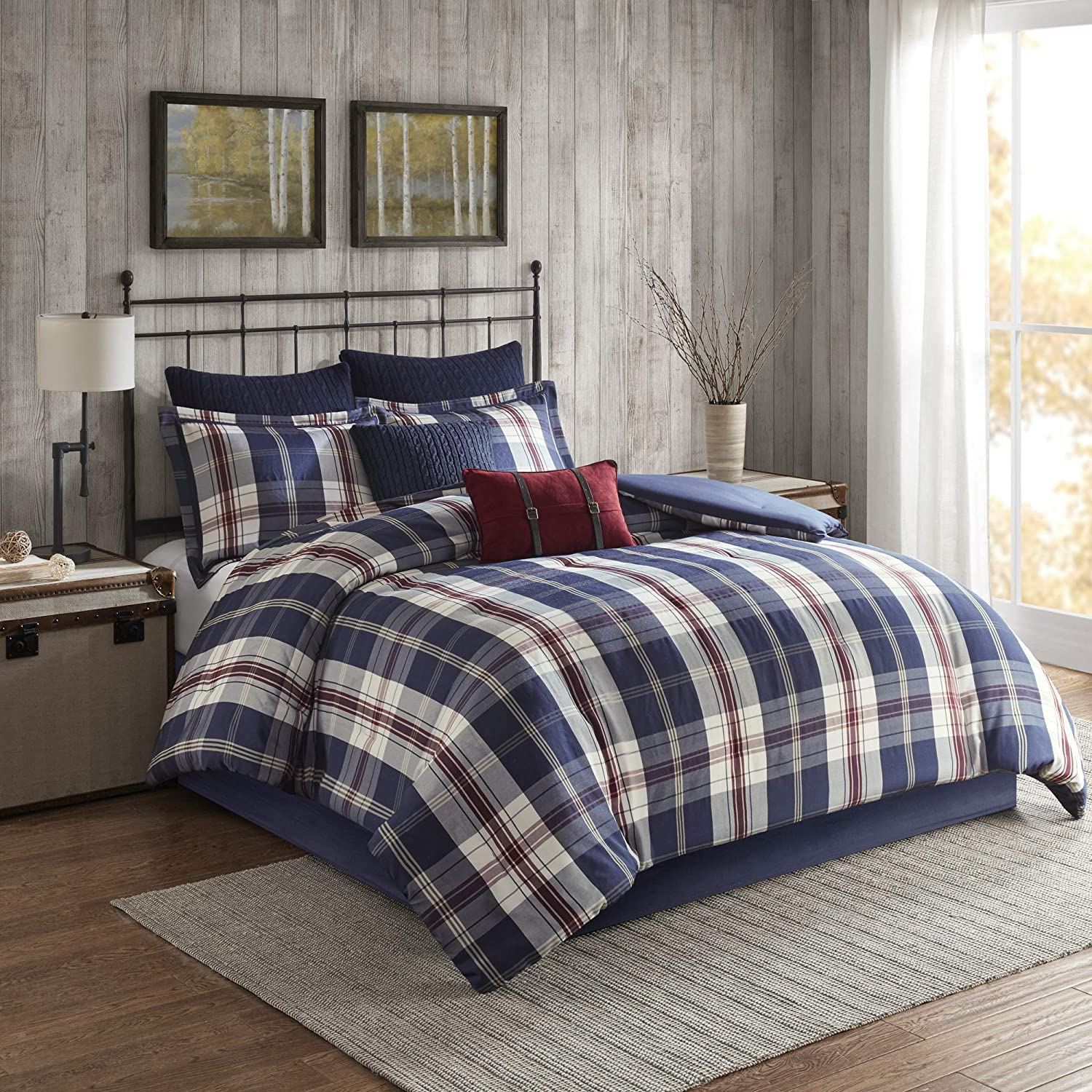 Woolrich Comforter Reversible Oversized Jacquard Check Plaid Cabin Lodge Rustic Printed Modern Ultra Soft Down Alternative Hypoallergenic All Season Bedding-Set, King, Ryland Blue