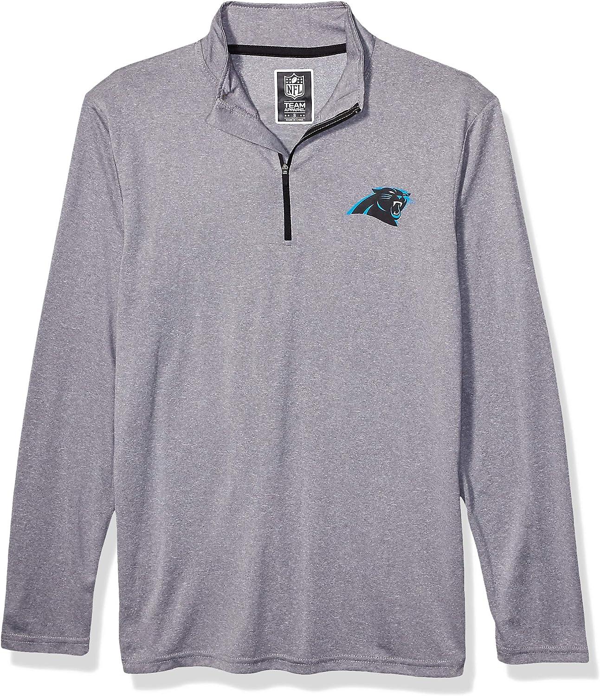 Ultra Game Mens NFL Moisture Wicking Soft Quarter Zip Long Sleeve Tee Shirt, Carolina Panthers, Heather Gray, Small