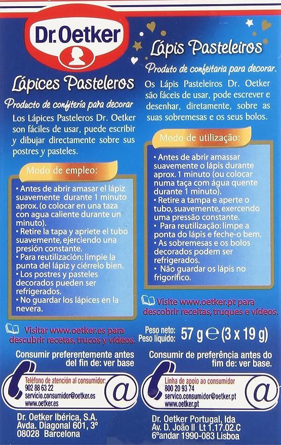 Dr. Oetker - Lápices pasteleros - Sabor chocolate - 3 x 19 g: Amazon.es: Alimentación y bebidas