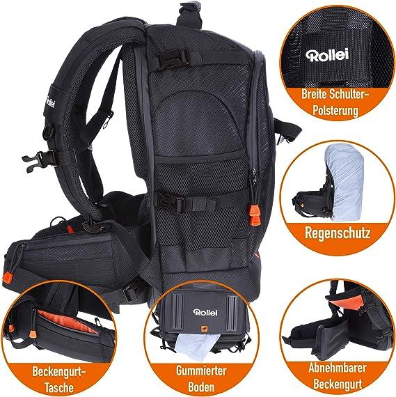Rollei Fotoliner Fotorucksack M (großer Kamerarucksack (Daypack) mit Schnellzugriff, Laptop Fach, Regenschutz und Handgepäck tauglichen Maßen) schwarz
