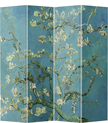 Fine Asianliving Room Divider Privacy Screen 4 Panel Van Gogh Almond Blossoms