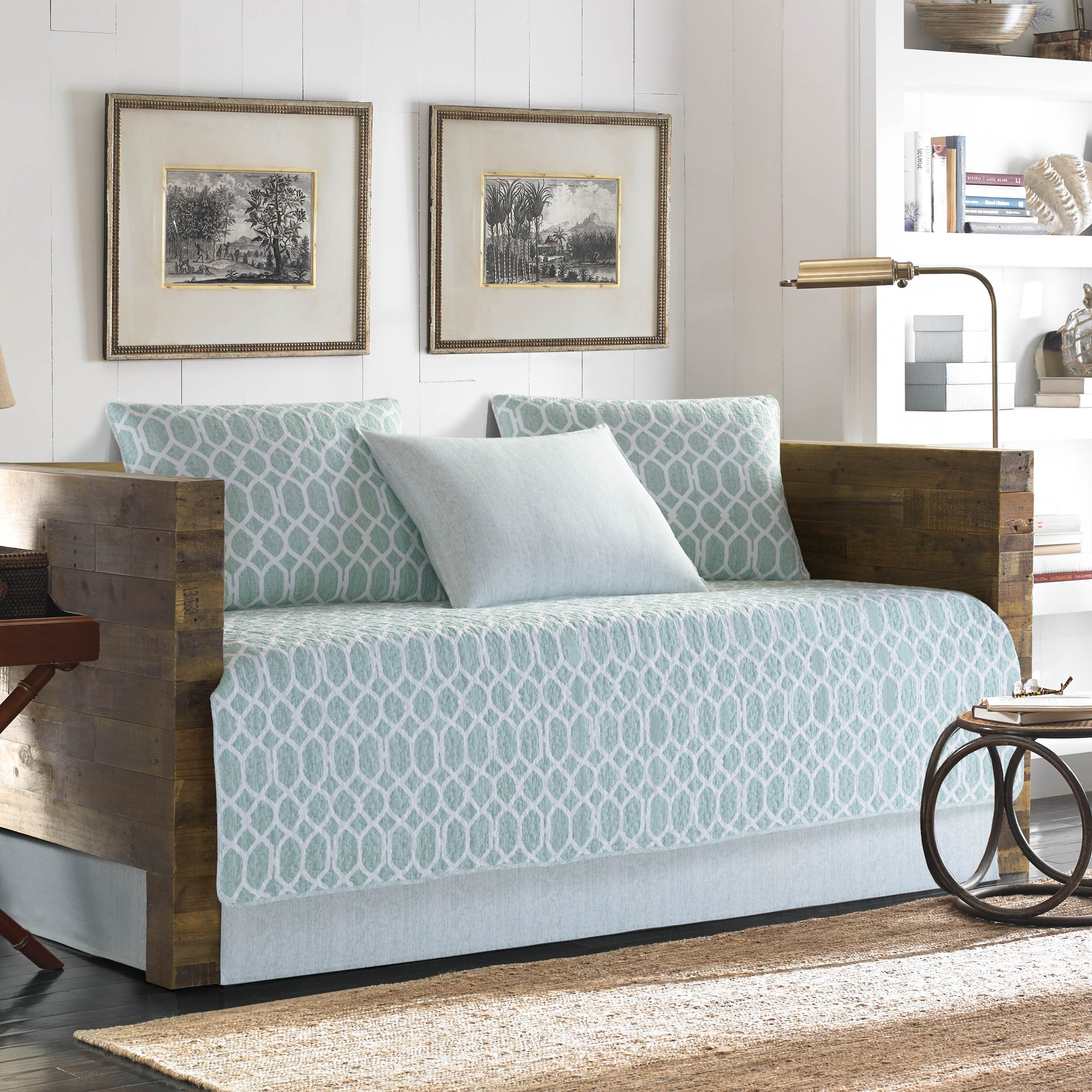 Tommy Bahama Catalina Trellis Daybed Cover Set, Twin, Light Pastel Blue