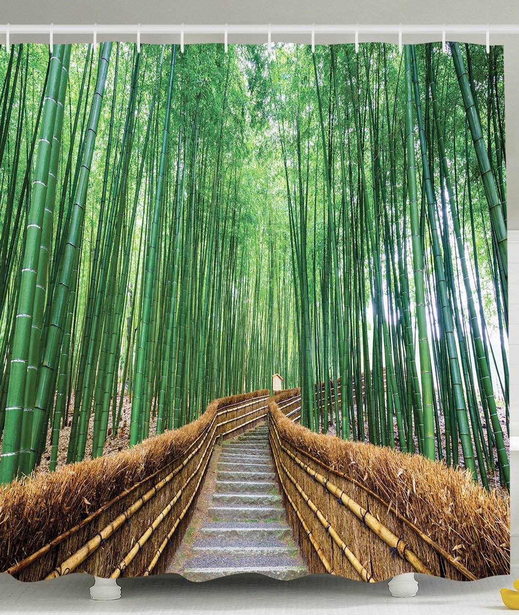 Ambesonne Colorful Tropical Decor Wildlife Shower Curtain Bridge Over Tree Bamboos Bathroom Art Decorations for Women and Men Nature View with Exotic Landscape Zen Spa Yoga Design, Green Brown Gray