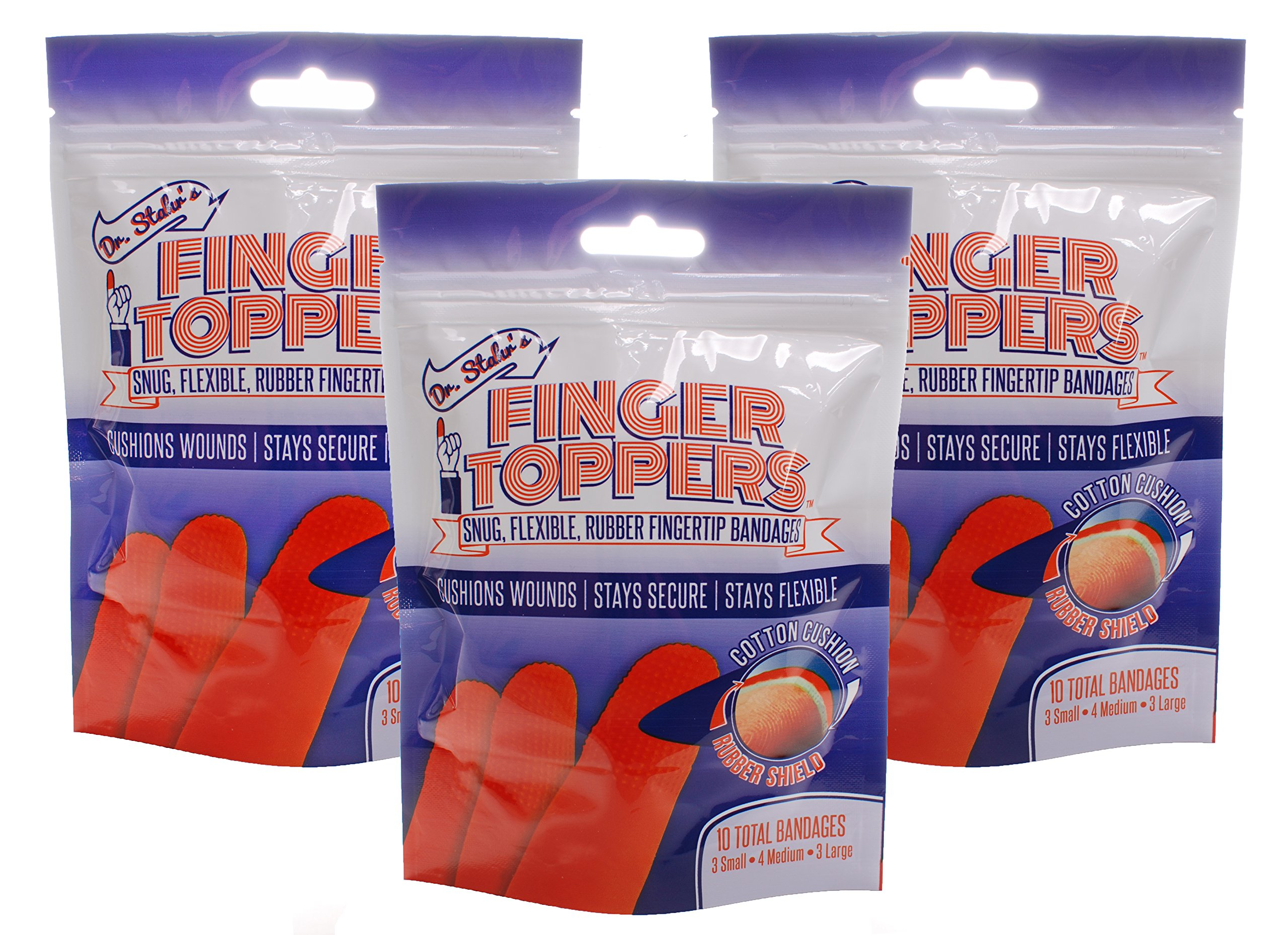 3 Bags of FingerToppers bandages (10 individually wrapped bandages per bag)