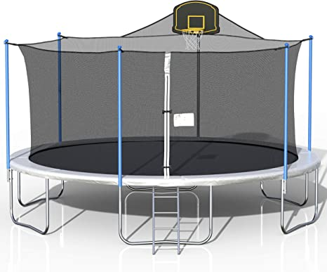 16FT Trampoline, Outdoor Trampoline with Safety Enclosure Net Basketball Hoop