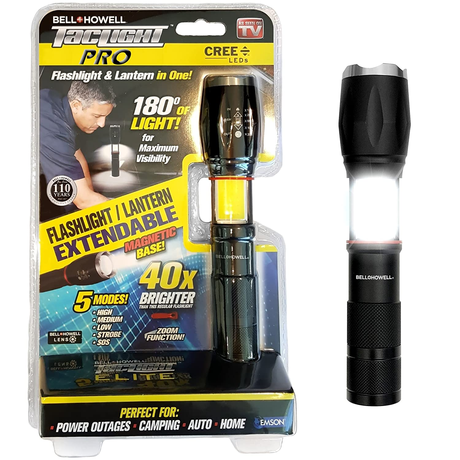 Bell + Howell TACLIGHT PRO Lantern+Flashlight in-1 with Zoom, Magnetic Base  As Seen On TV - 40x Brighter (2010)