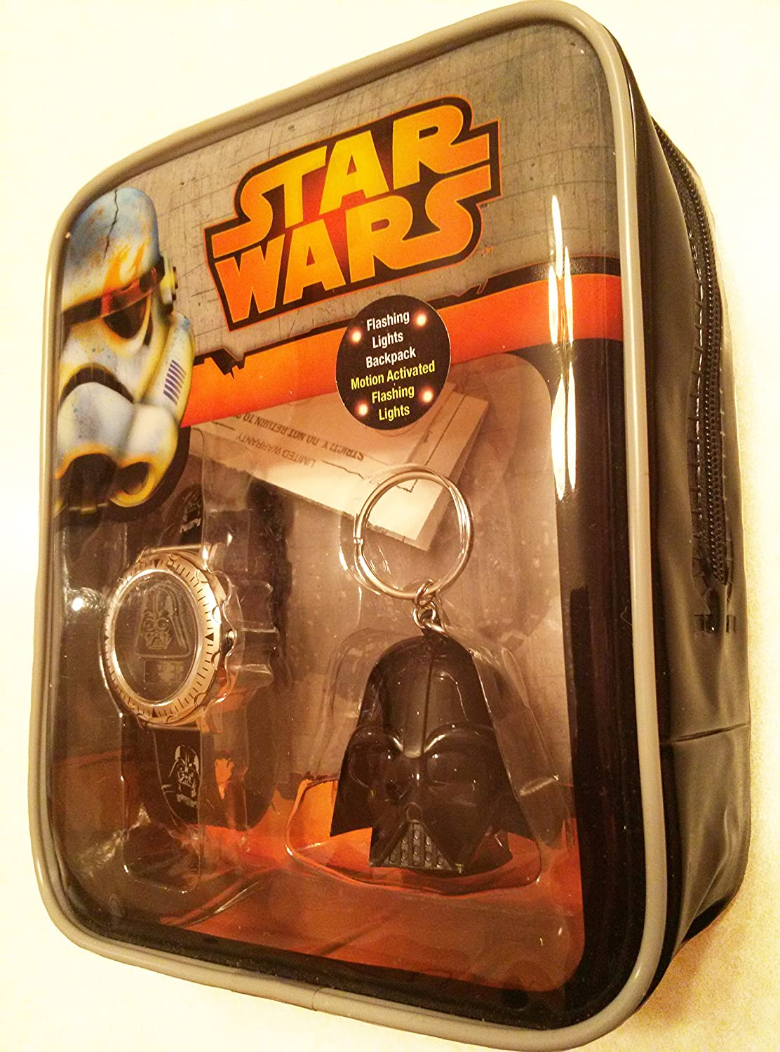 42946b8174e3 Amazon.com  Star Wars Flashing Lights Mini Backpack (Motion Activated  Flashing Lights) Star Wars Watch and Keychain Included!  Toys   Games