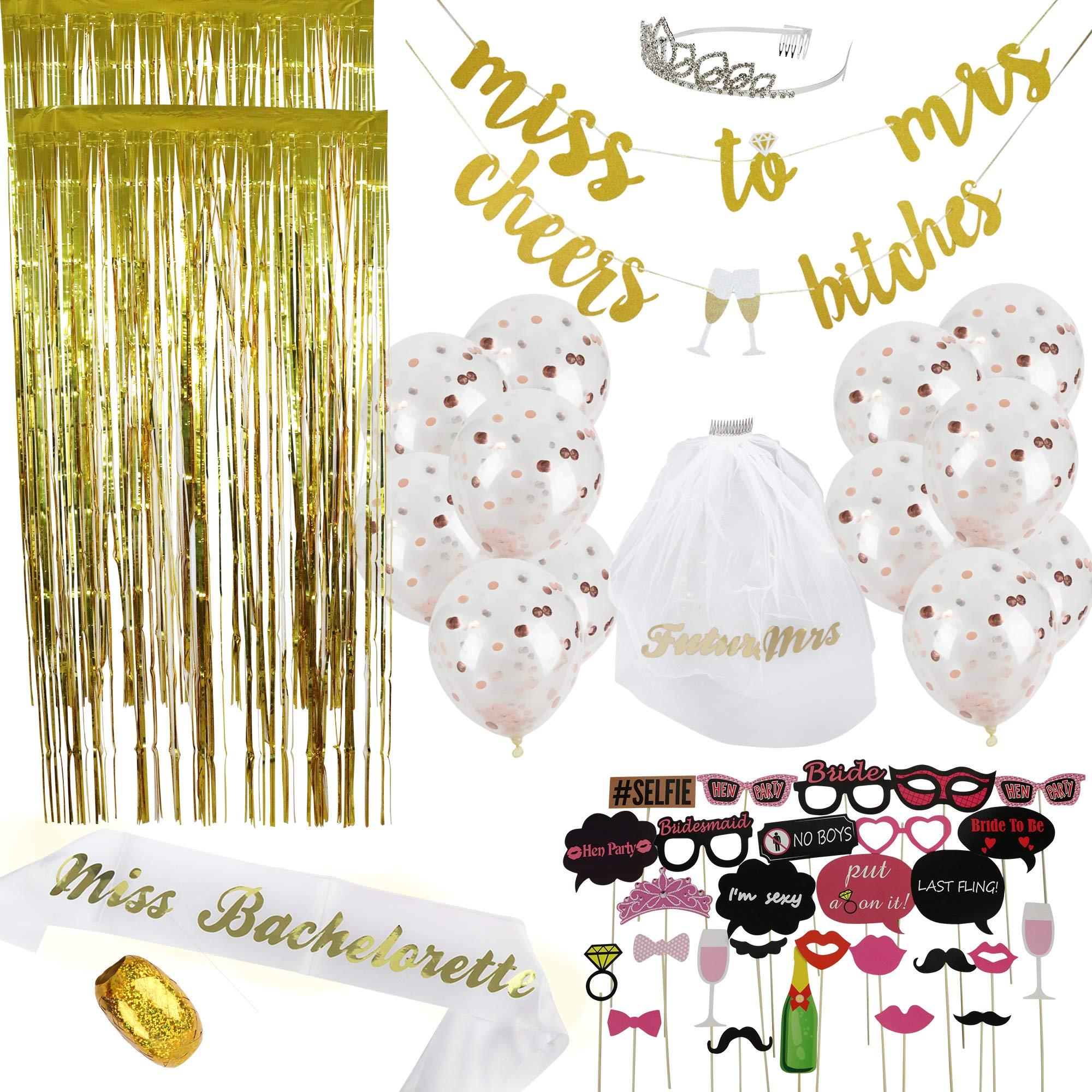 Bachelorette Party Decorations Kit 50 Piece   Bridal Shower Supplies   Photo Props & Backdrop Set - Gold Banners, Gold Photo Backdrops, Confetti Balloons, Photo Props, Sash, Tiara, Veil, Ribbon