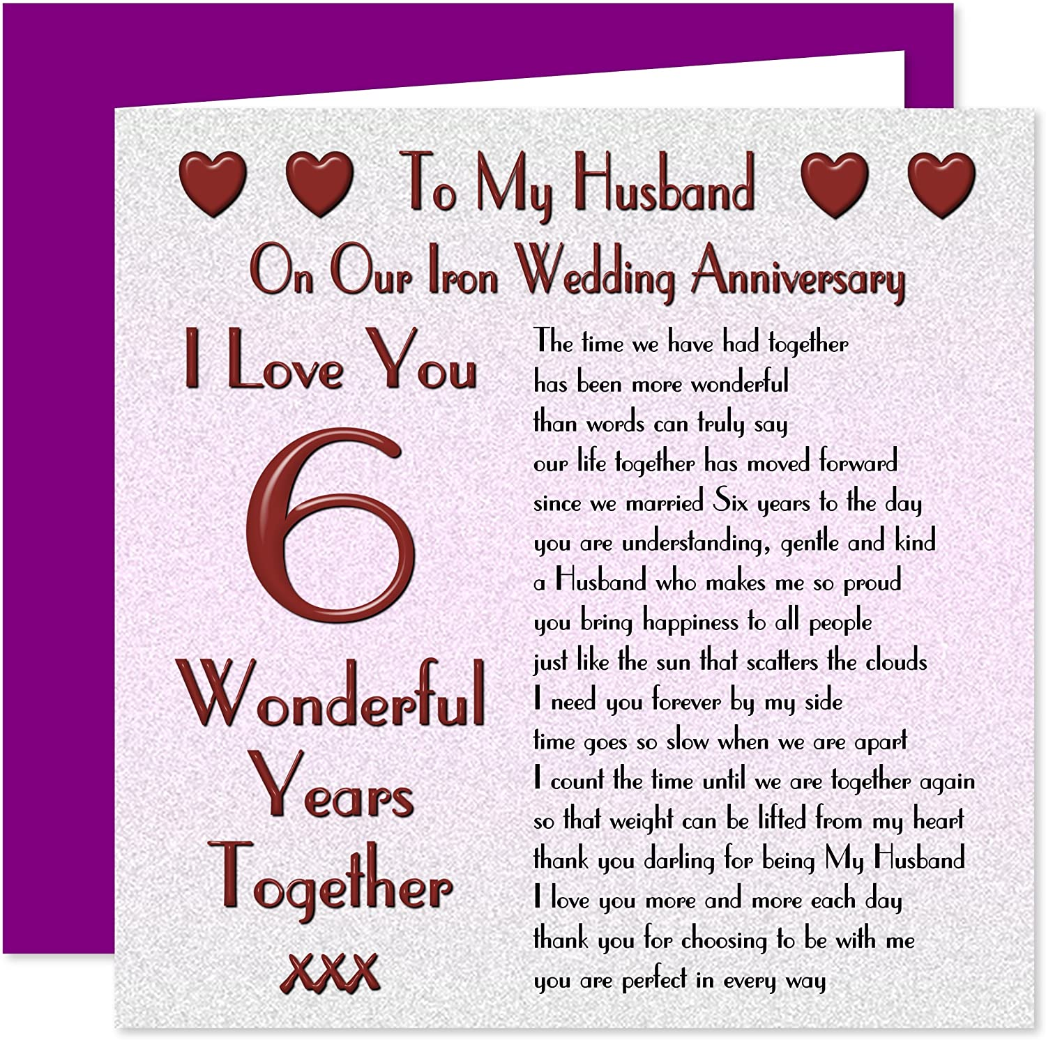 My Husband 9th Wedding Anniversary Card - On Our Iron Anniversary - 9 Years  - Sentimental Verse I Love You