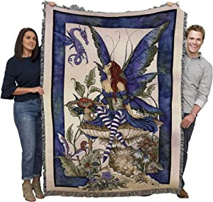 Bottom of The Garden - Amy Brown - Cotton Woven Blanket Throw - Made in The USA (72x54)