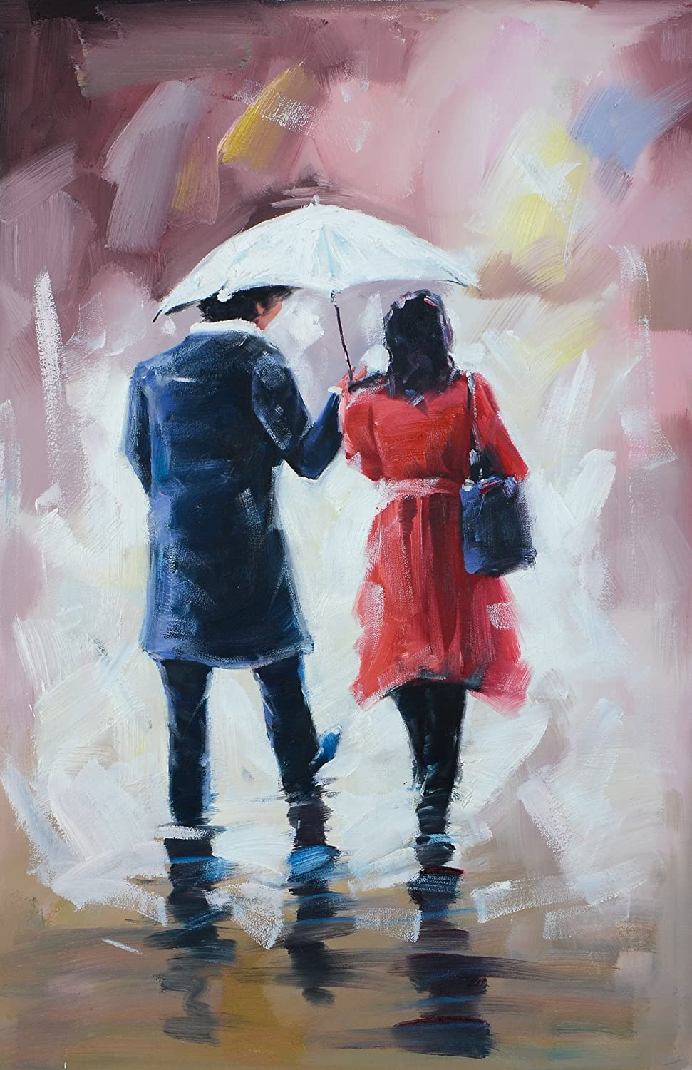 Amazon Com Love Couple Walking In The Rain Abstract Romantic Oil Painting Printed On Canvas Home Decor 2436inch Posters Prints