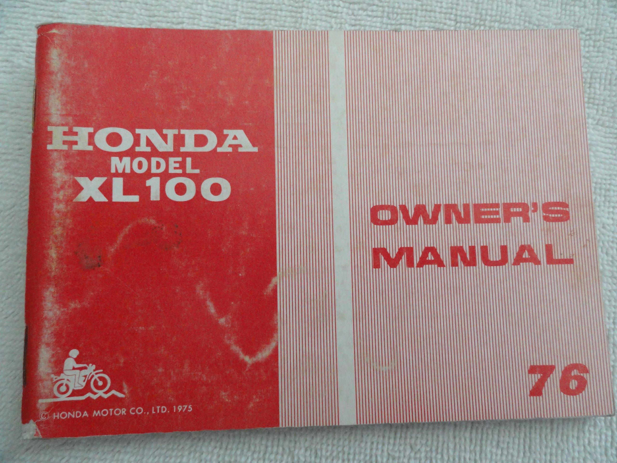 1976 Honda XL100 Owners Manual XL 100