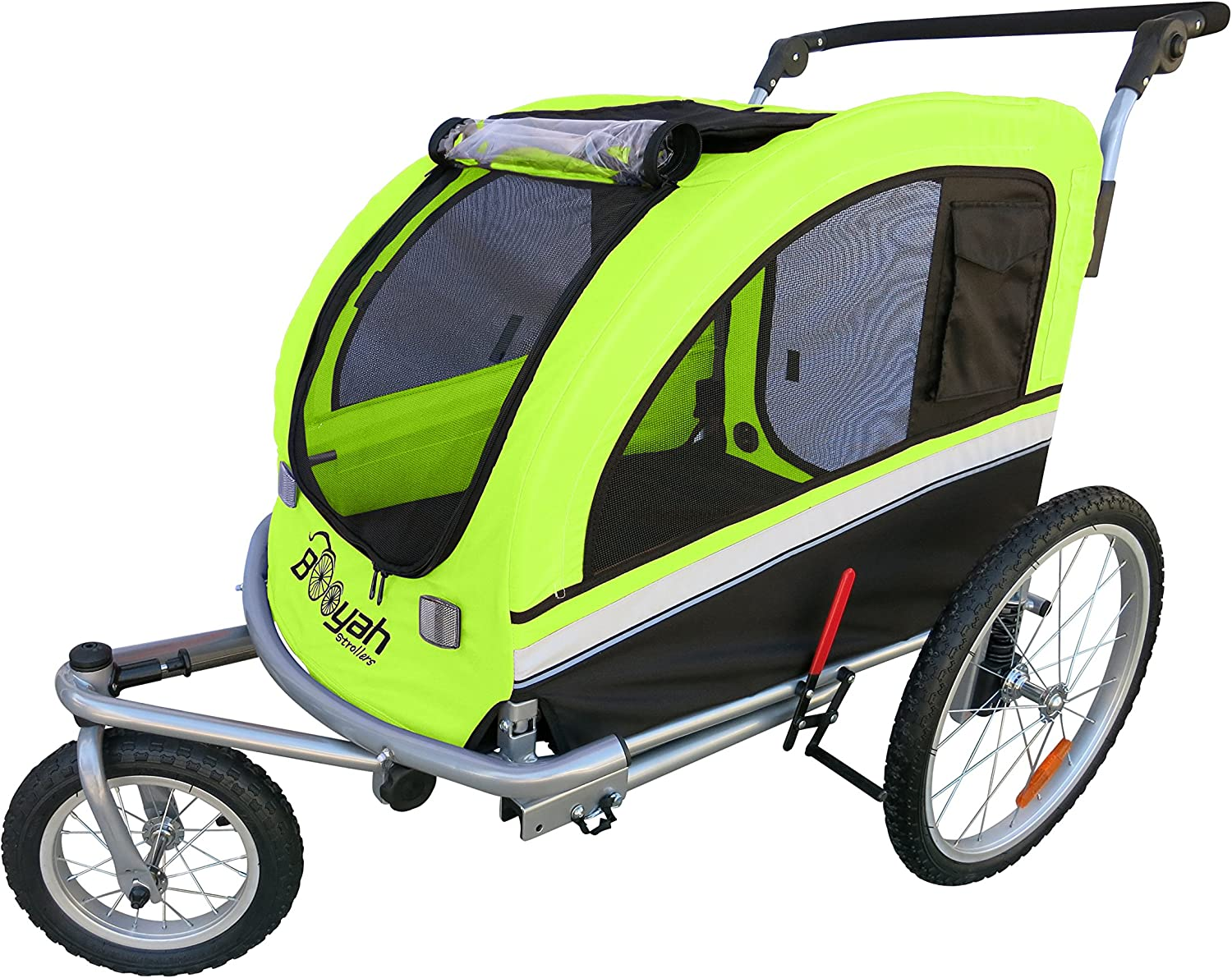 Booyah Large Pet Bike Trailer Dog Stroller Jogger with Shocks MB – Green