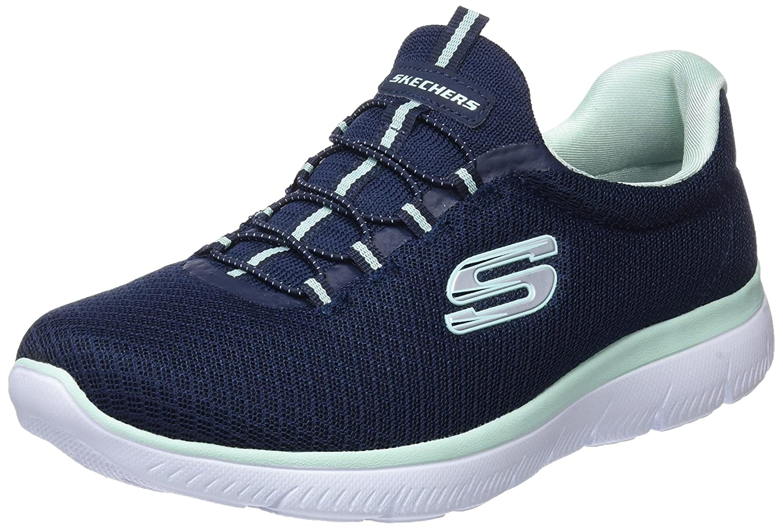 Skechers Women's Summits Sneaker B076XL7GCM 6.5 B(M) US|Navy Aqua
