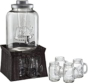 Artland Masonware Beverage Jar with Chiller and Infuser, 6 Mason Jars, Faux Wicker Stand