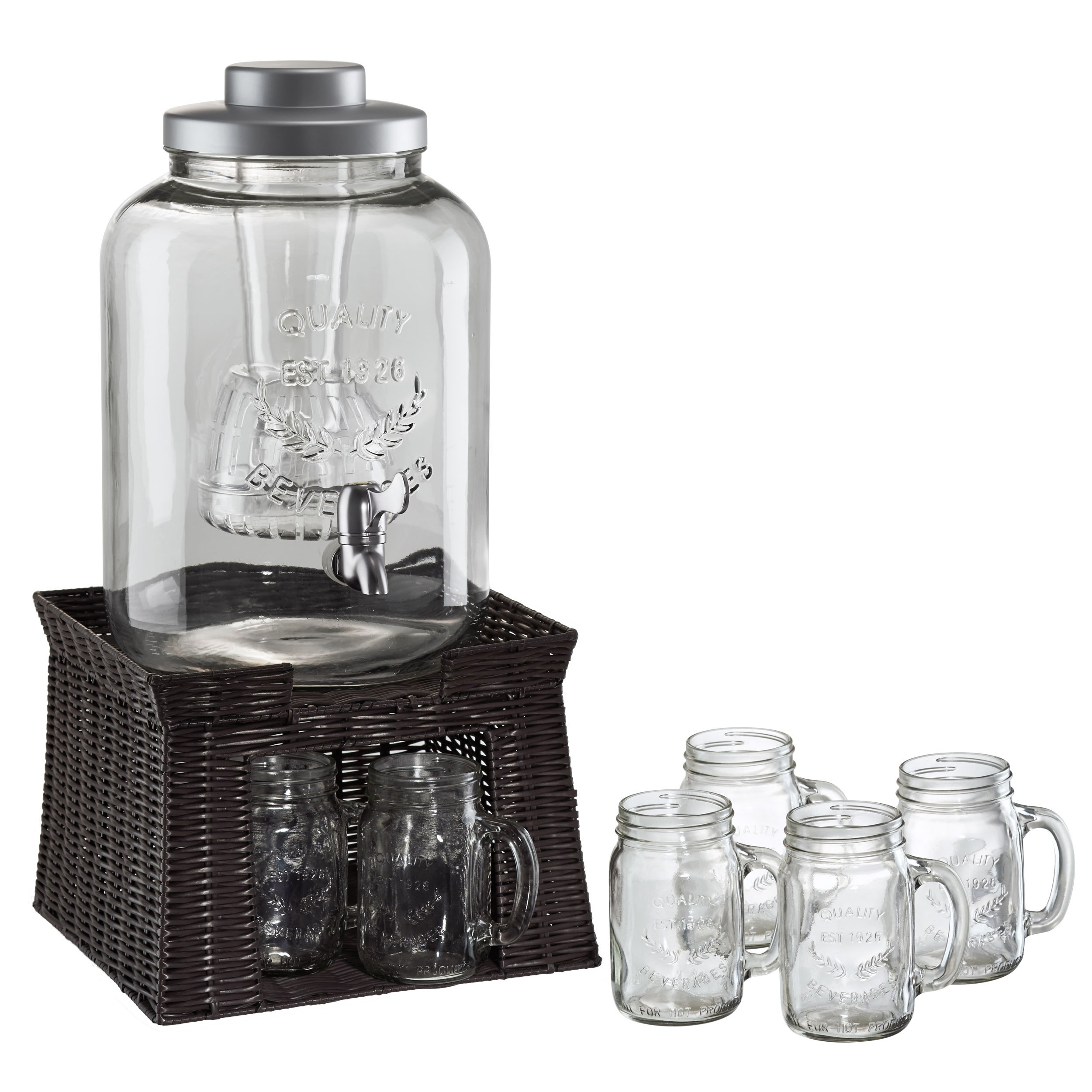 Artland Masonware Beverage Jar with Chiller and Infuser, 6 Mason Jars, Faux Wicker Stand by ARTLAND (Image #1)