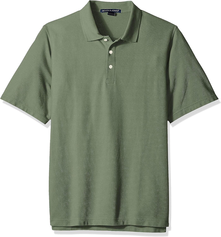 D & Jones Men's Solid Broadcloth Short-Sleeve Polo Shirt