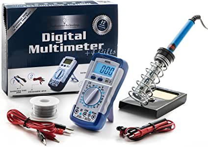 Digital Multimeter Kit - Multimeter & Soldering Iron 30W & Soldering Iron Stand & Solder Wire (50g 1mm,9M) & Two Alligator Clips =====> 5 Products In a Great Kit!!!
