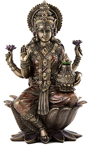 Top Collection Seated Lakshmi Hindu Statue – Goddess of Wealth, Fortune, Wisdom, and Prosperity Sculpture in Premium Cold Cast Bronze – 12.5-Inch Collectible Figurine