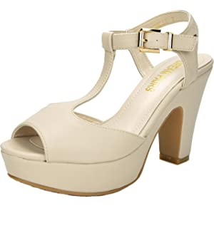 036fe95b56a4 DREAM PAIRS Women s Michelle Mid Heel Platform Pump Sandals