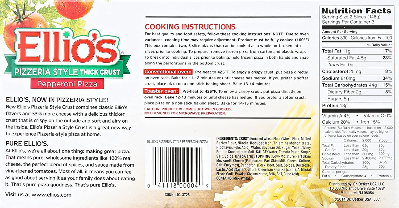 Ellios Pepperoni Thick Crust Pizza 156 Oz Frozen Amazoncom