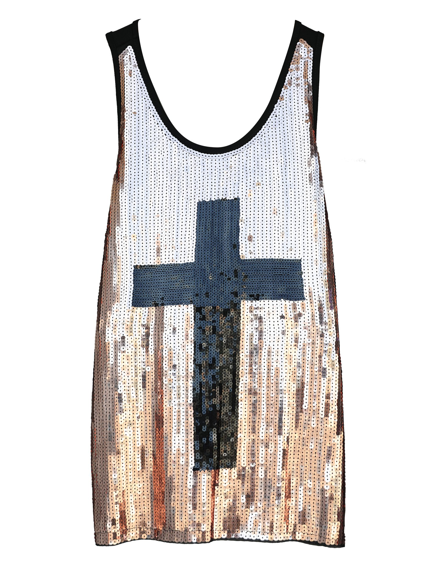 Flapper Girl Glam Sequins Cross Tank Top Vest Nightclub Camisole Vest Shirt (M, Champagne)