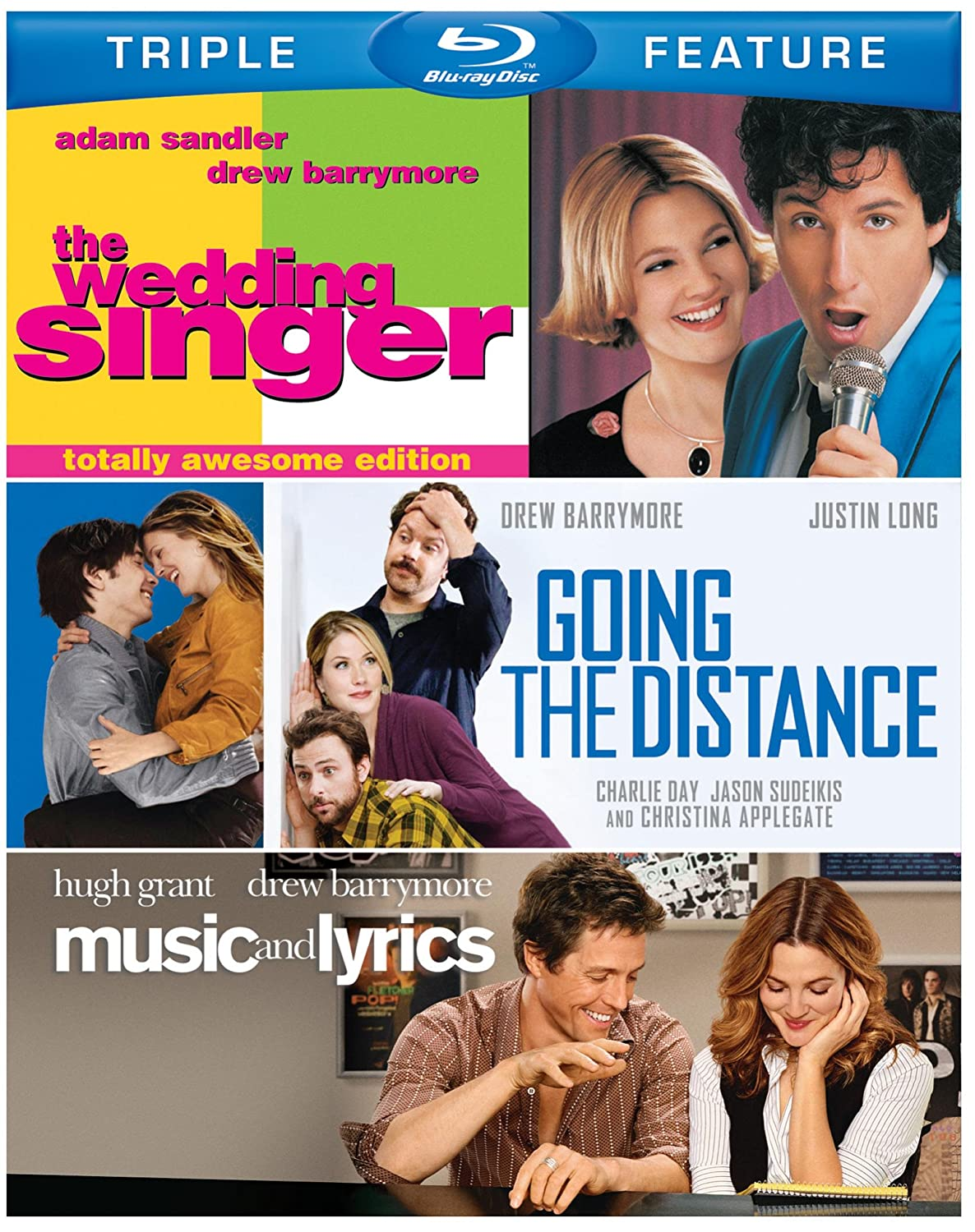 Amazon Drew Barrymore Triple Feature The Wedding Singer Music And Lyrics Going Distance Blu Ray Movies TV