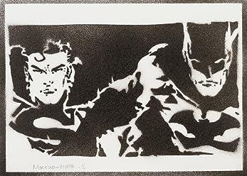 Póster Superman Y Batman Grafiti Hecho A Mano - Handmade Street Art - Artwork