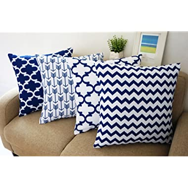 Blue and White Howarmer® Square Cotton Canvas Decorative Throw Pillows Cover Set of 4 Accent Pattern - Navy Blue Quatrefoil, Navy Blue Arrow, Chevron Cover Set 18 x 18