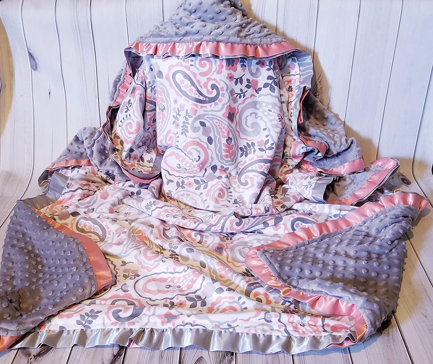 Image of Baby Toddler Girl Silver Coral Paisley Minky & Silver Minky Blanket with Coral & Silver Satin Double Ruffles 50 x 60 INCHES Home and Kitchen