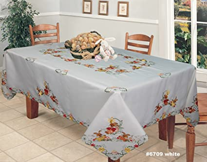 Creative Linens Spring Embroidered Easter Bunny Egg Floral Tablecloth  70x120u0026quot; Rectangular U0026 12 ...