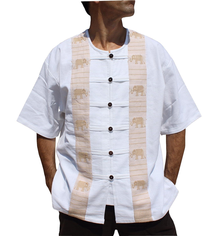 Elephant  White RaanPahMuang Thai Cotton Short Sleeve Handcrafted Open Collar Wood Button Shirt