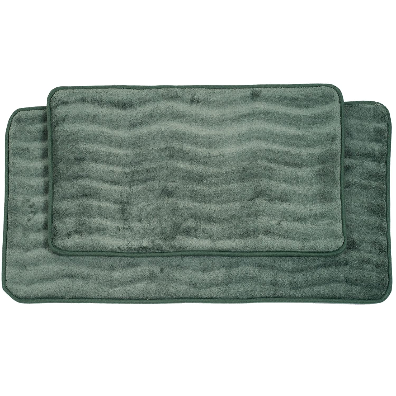 Lavish Home 2-Piece Memory Foam Bath Mat Set, Green