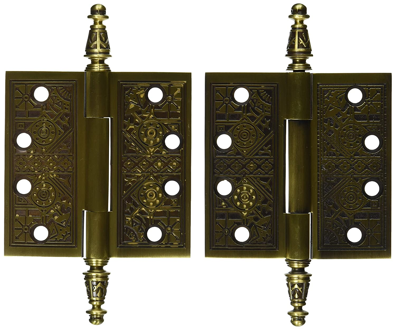 Deltana DSBP44U5 Solid Brass Ornate 4 Inch x 4 Inch Square Corner Hinge