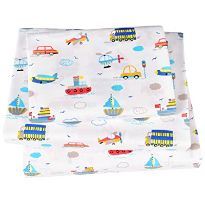 J-pinno Truck Car Boat Shipping Plane Transportation Twin Sheet Set for Kids Boys Girls Children,100% Cotton, Flat Sheet + Fitted Sheet + Pillowcase Bedding Set: Home & Kitchen