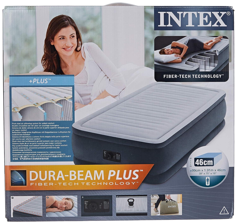 Intex 67770 colchón casa, PVC, Gris, Matrimonio, 150x200 cm ...
