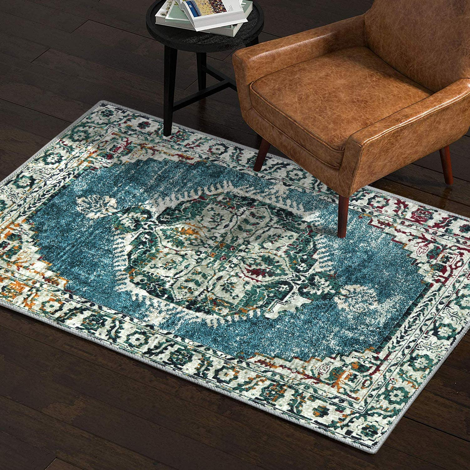 LEEVAN Faux Wool Area Rug 2 x 3 ft Traditional Rectangle Throw Runner Rug Non-Slip Backing Soft Wool Floor Carpet for Sofa Living Room Bedroom Modern Accent Home Decor