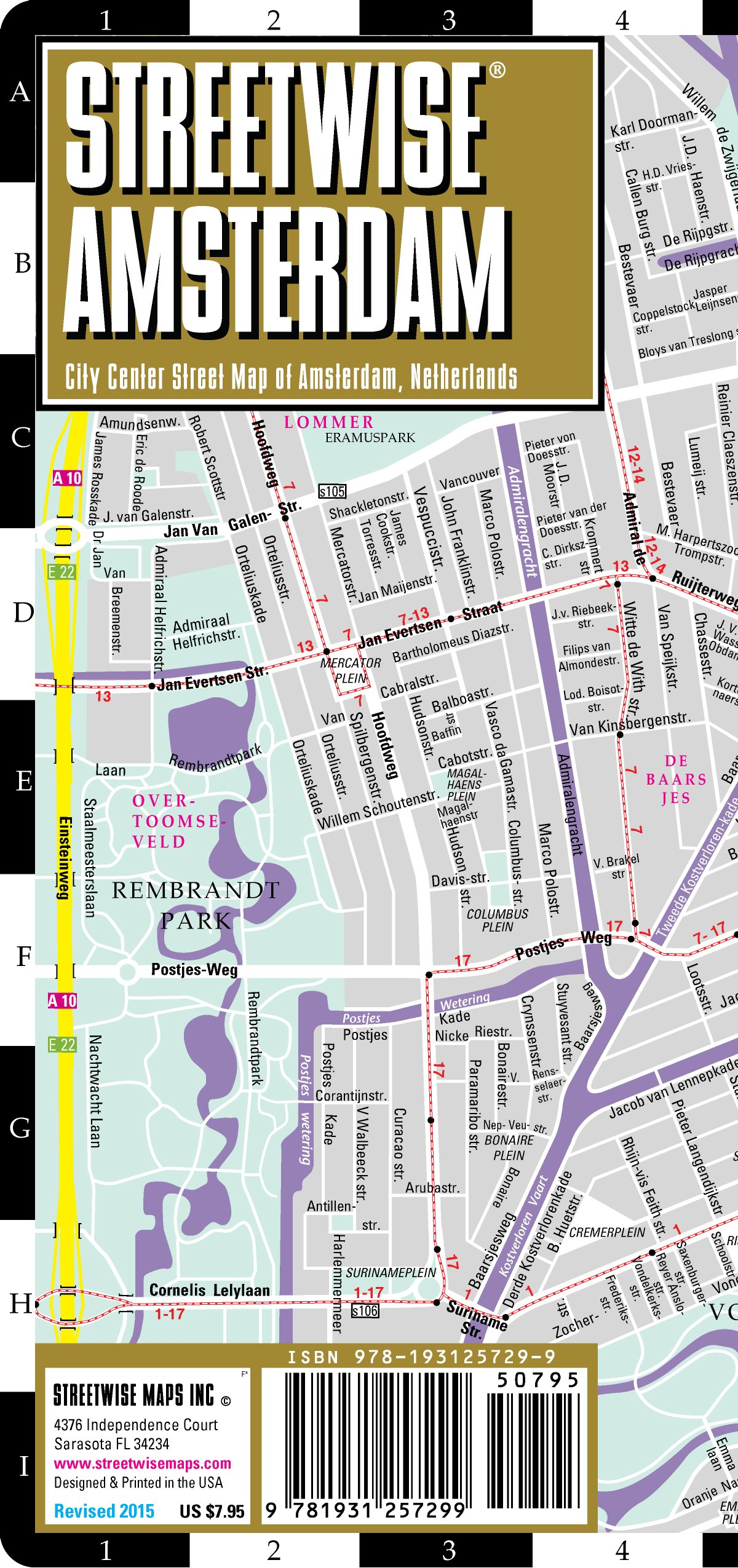 Streetwise Amsterdam Map - Laminated City Center Street Map