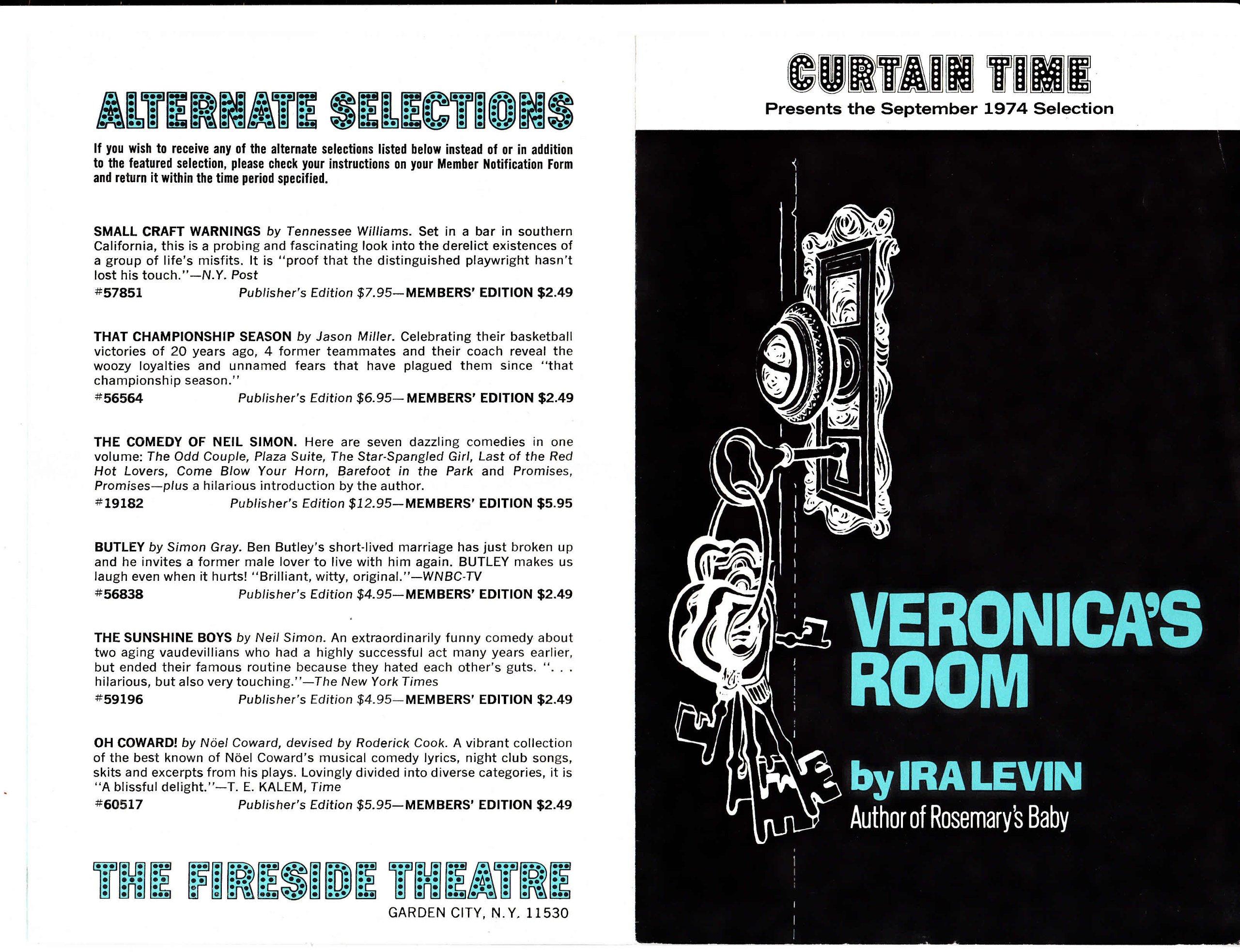 1974 Fireside Theatre Garden City NJ Veronics's Room