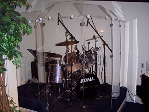 "Drum Shield DS4D 5 Panels Full 1/4"" x 24"" x 60"" Crystal Clear Acrylic Chrome Hinges"