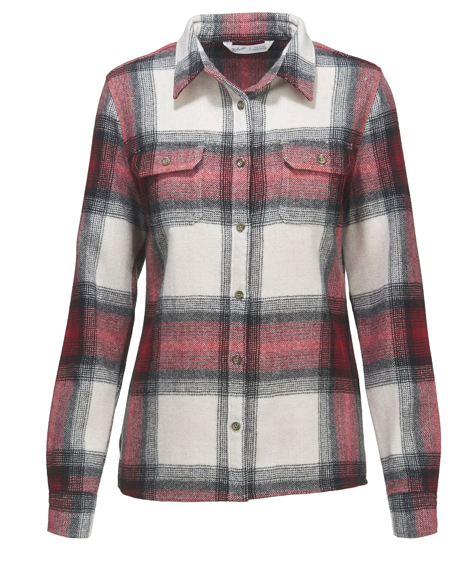 Woolrich Women's Bering Plaid Wool Shirt, Old Red (Red), Size L