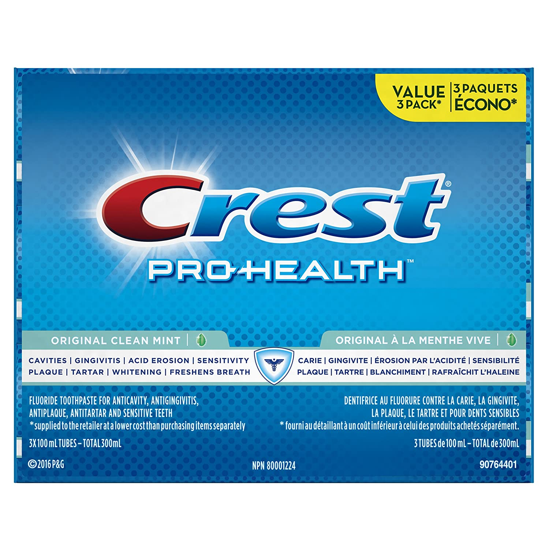 Crest Pro-Health Original Clean Mint Flavour Toothpaste, 100Ml Triple, 3 Count Procter and Gamble