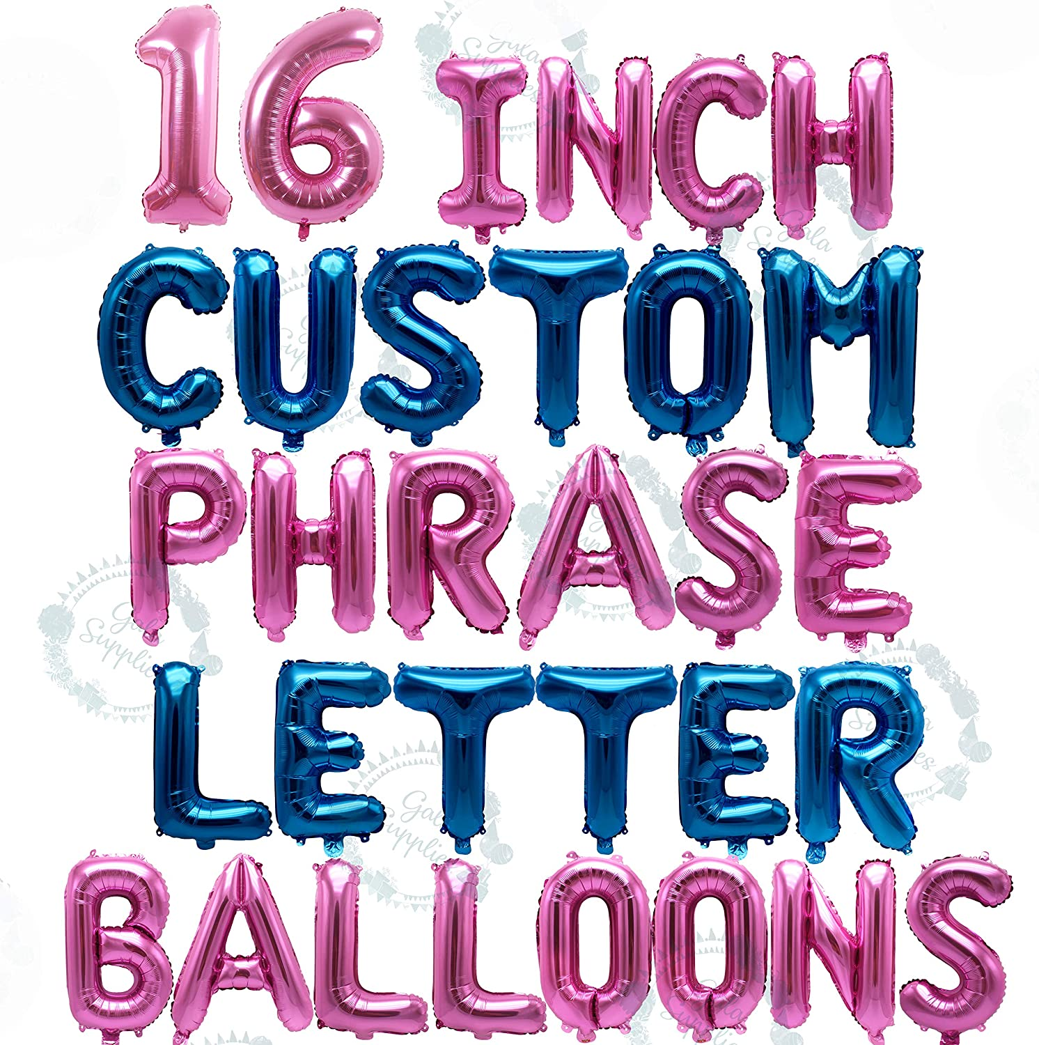 """NEW Gold Silver Pink /& Blue 16/"""" Alphabet Letter Number Foil Balloons PARTY NAME"""