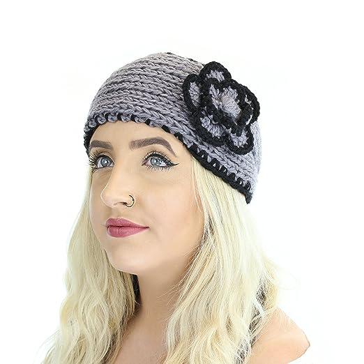 Grey Boho Winter Knit Ear Warmer Head Wrap W  Flower dac268e8b3c