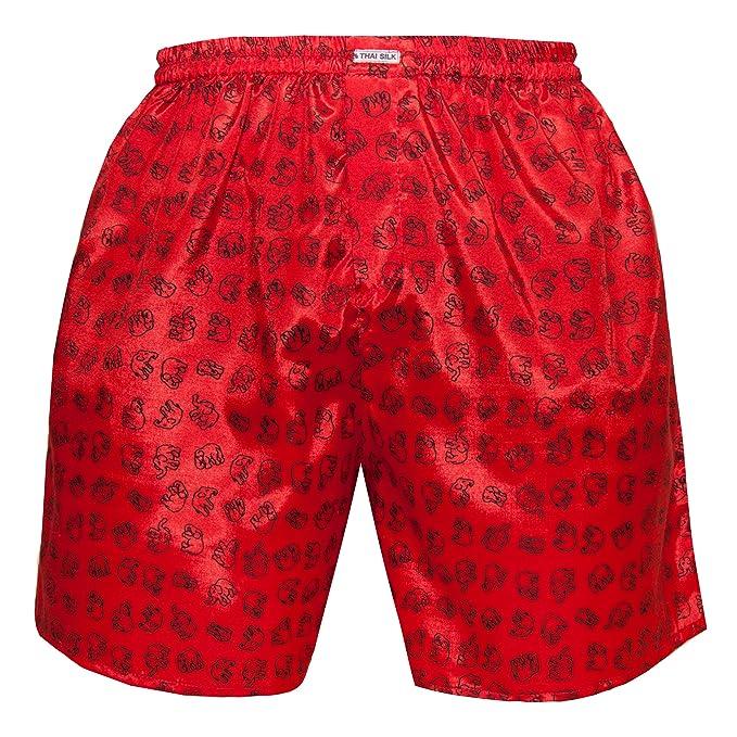 Hombre Ropa interior para dormir con comodidad Elefante Thai Silk Boxers (XL, Rojo)