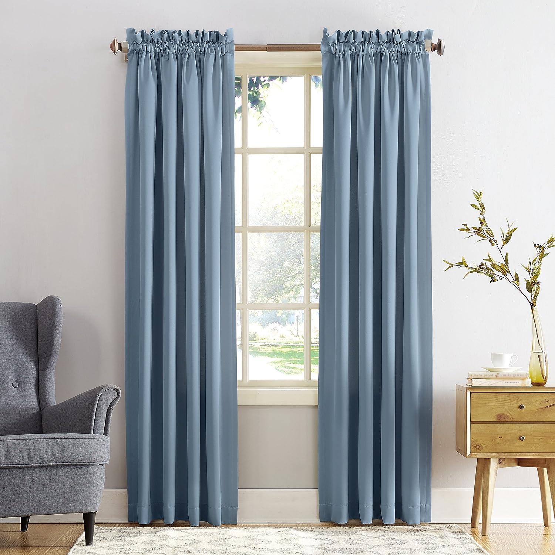Sun Zero Barrow Energy Efficient Rod Pocket Curtain Valance,Navy Blue,54