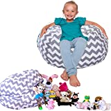 """Stuffed Animal Storage BeanBag Style - The POPULAR CHEVRON Print Canvas Toy Organization Storage Bag Ready to Filled with Stuffed Toys. REINFORCED SEAMS, Large 24"""" ZIPPER Not Giant, KIDS CAN MOVE"""