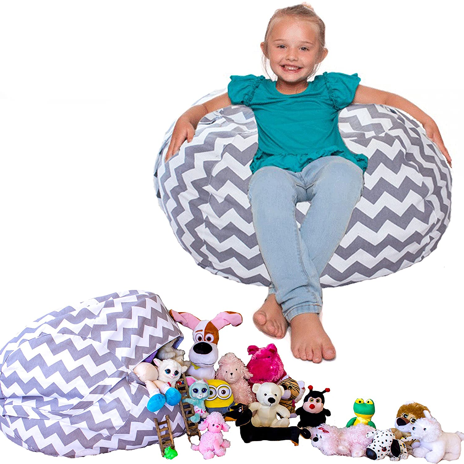 Stuffed Animal Storage Bag BeanBag Style Chair. Well Made With Love.... Lillys Love ChevBeanGrey